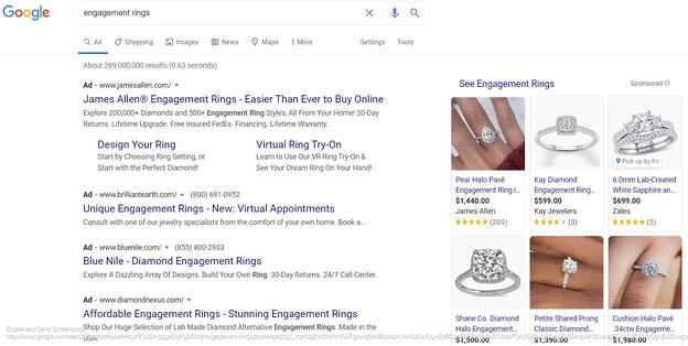 Screenshot of engagement rings - Google Search